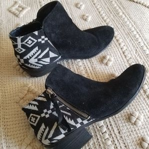 Black suede and tribal booties